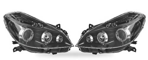 car hifi service phares angel eyes noir pour renault clio iii de 05 08. Black Bedroom Furniture Sets. Home Design Ideas